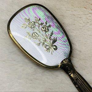Vintage Vanity Brush Clear Bristle Gold Inlay Rose